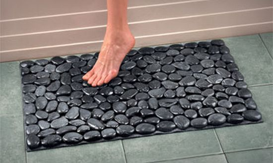 River rock bath mat