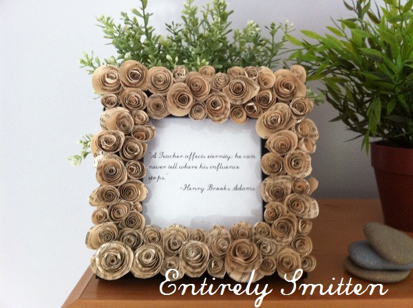 Decorate A Frame With Book Page Roses Gift Idea Entirely Smitten