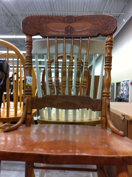 wooden chair with ornate detail