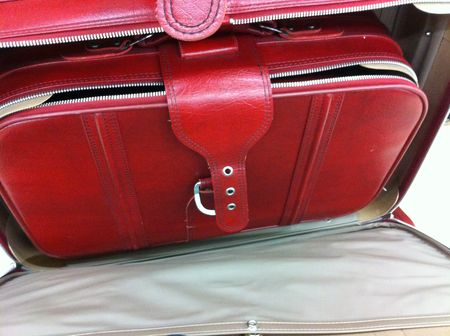 red vintage luggage