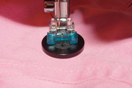 machine sew a button